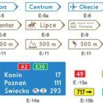tablice kierunkowe i miejscowości E