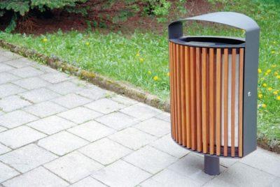 kosze stalowe na odpady z daszkiem